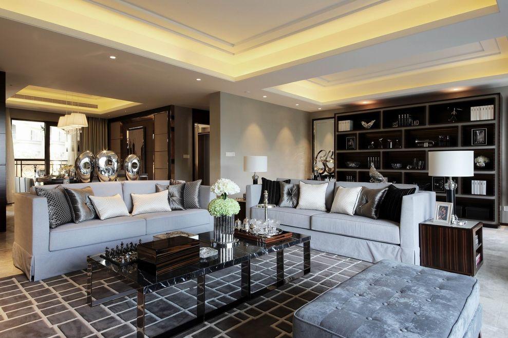 沉穩豪華現代兩室兩廳裝飾圖