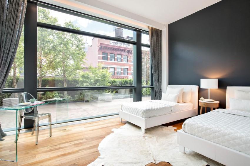 装修效果图 装修美图 黑白系简约卧室落地窗设计