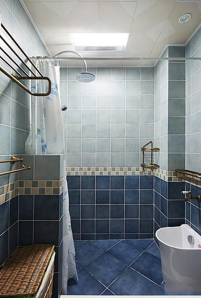 蓝色地中海风格家居卫生间隔断设计装饰图_装修百科