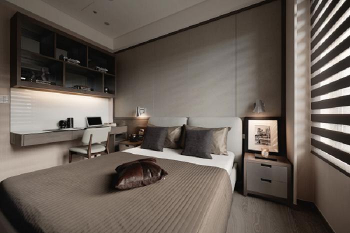 淺咖啡色沉穩現代時尚臥室裝潢效果圖