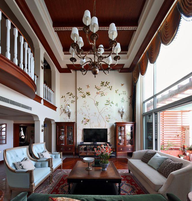 别墅客厅美式乡村风装修效果图
