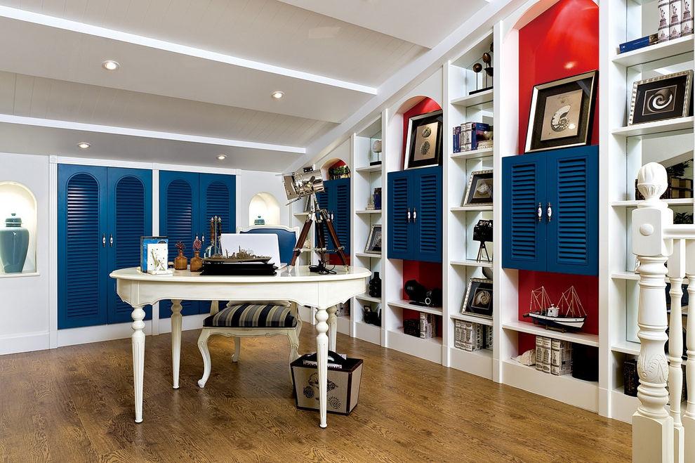 蓝色地中海风格书房装修图