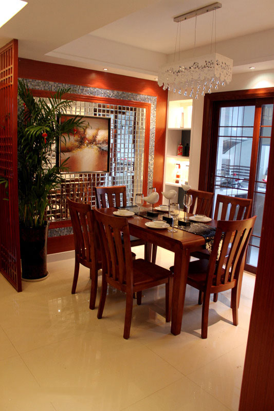 简约新中式餐厅效果图