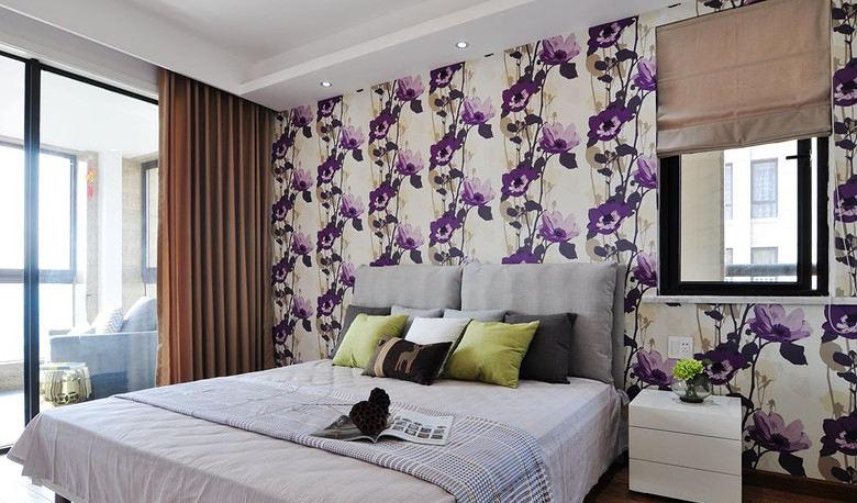 装修效果图 装修美图 唯美时尚现代卧室墙纸装饰图