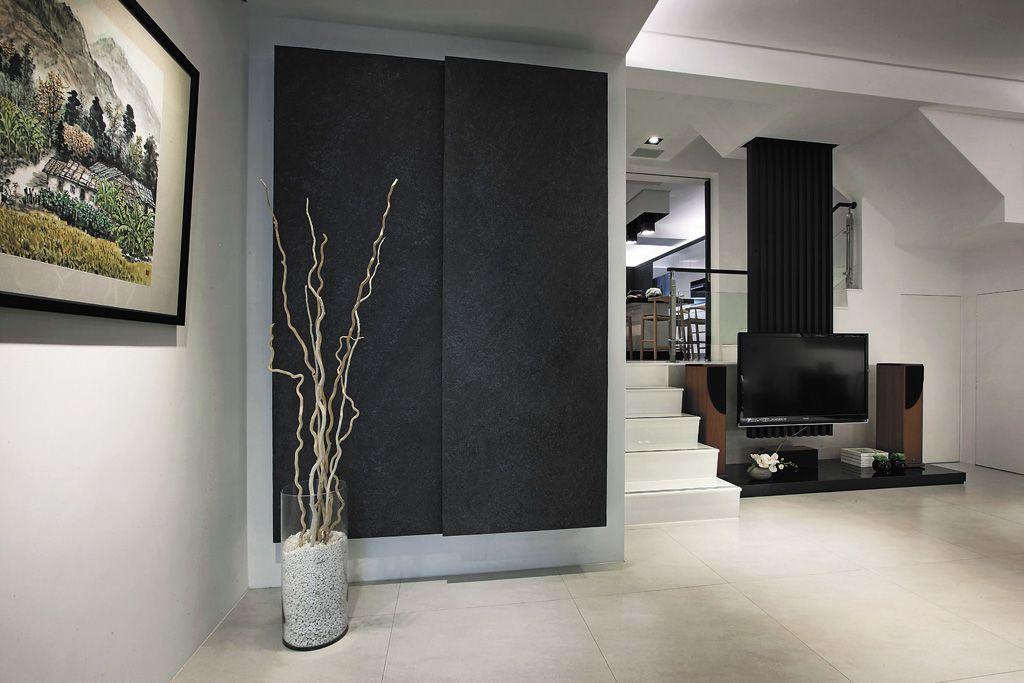 装修百科 装修效果图 装修美图 现代室内玄关黑色背景墙设计 现代室内