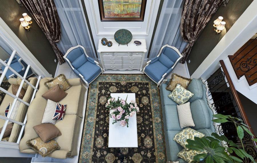 唯美欧式地中海风格别墅客厅俯视效果图_装修百科