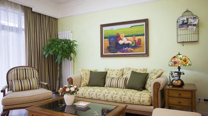 淺綠色田園風格客廳背景墻欣賞