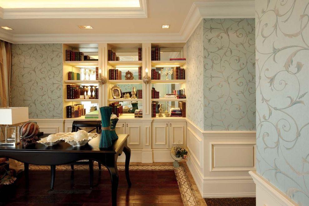 清新欧式装修风格书房嵌入式墙面书柜设计_装修百科
