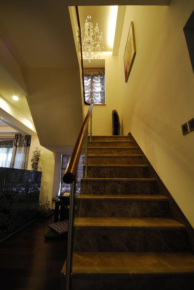 新古典复式现代大理石楼梯设计装修图_装修百科
