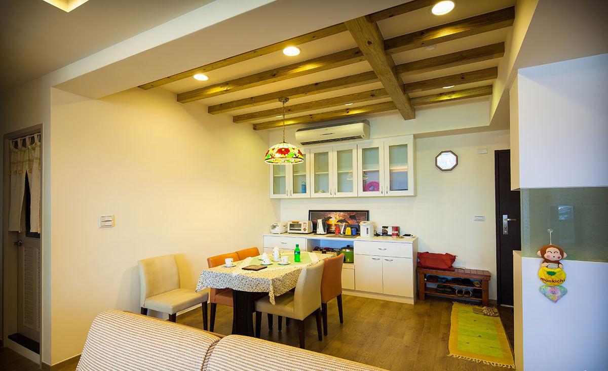 北欧设计风格餐厅实木吊顶效果图_装修百科