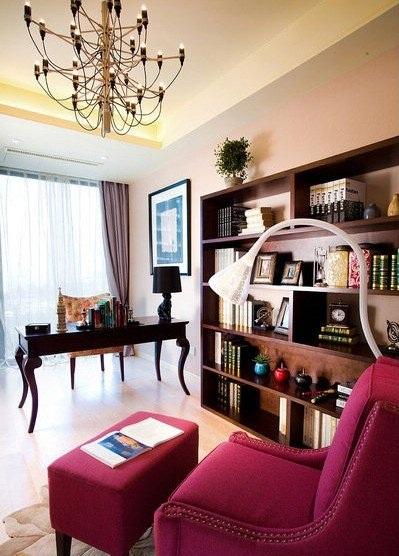 多彩美式田园风格三室两厅家居装修效果图