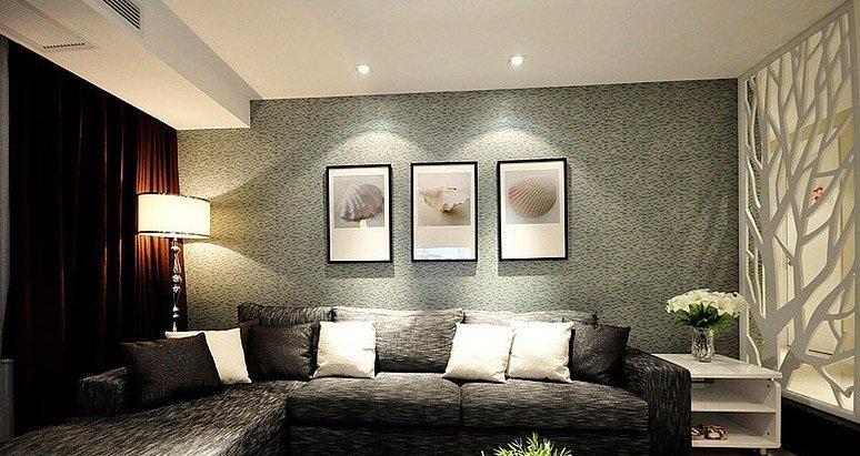 沉穩神秘現代客廳 硅藻泥相片墻裝飾圖