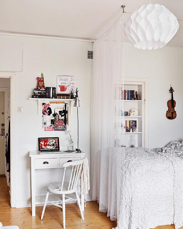 清爽纯净北欧风格小户型公寓白色纱帘隔断效果图-您正在访问第3页,