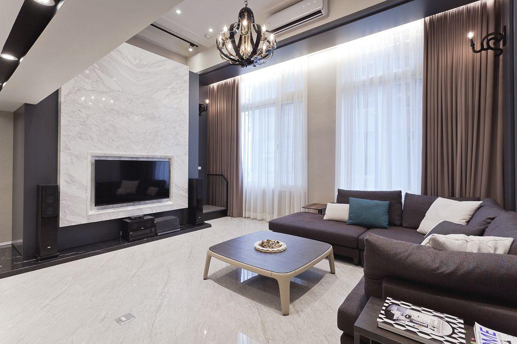 時尚精致復古現代風混搭挑高復式樓裝潢設計