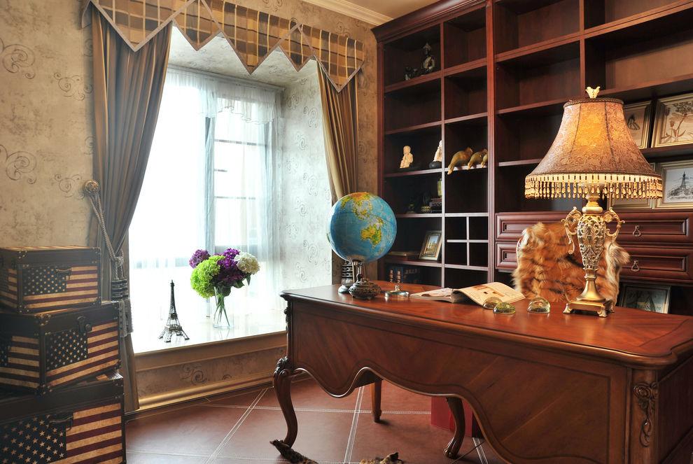 复古欧式书房红木家具装饰