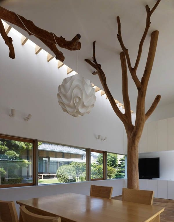 家居室内极简主义树木支架装饰效果图_装修百科