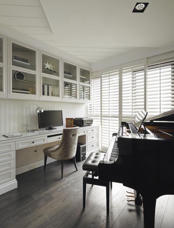 现代美式书房钢琴房一体设计