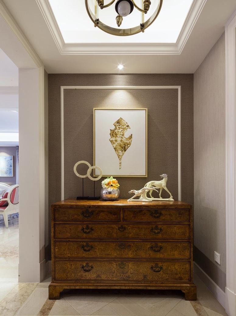 装修效果图 装修美图 古朴美式玄关柜装饰图