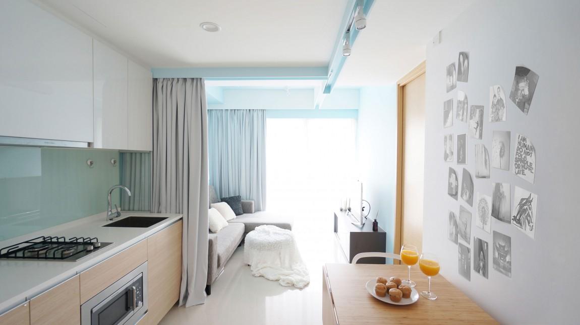 清新舒适简约小户型公寓室内隔断装修图
