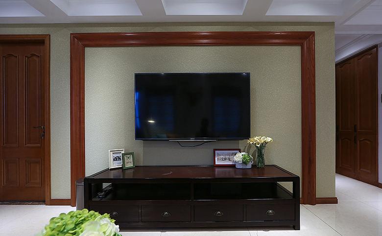 简约美式客厅实木线条电视背景墙设计