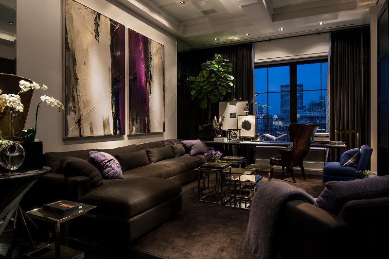 深色摩登现代时尚二居室家装设计图