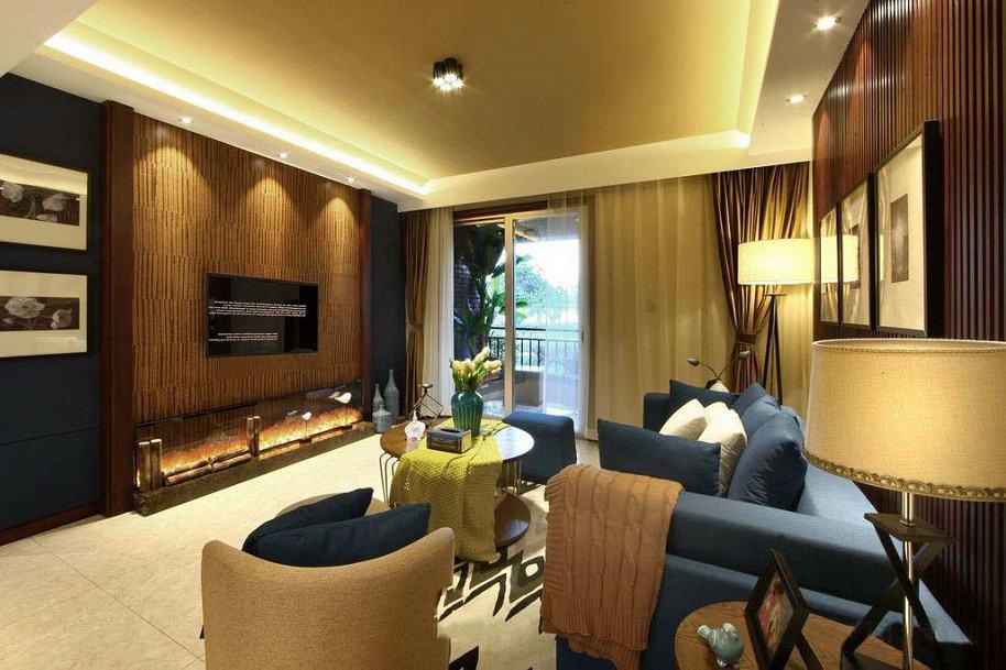 美式裝修風格客廳室內吊頂效果圖