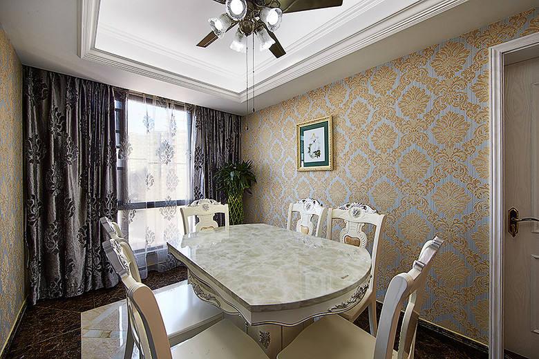 欧式古典奢华餐厅窗帘装饰效果图_装修百科