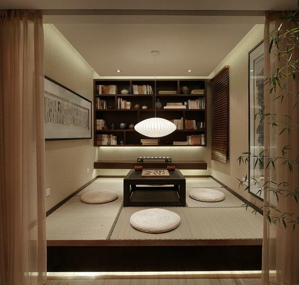深邃禅意日式风格休闲区榻榻米设计