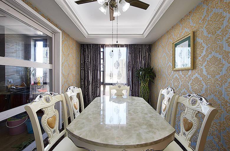 精致古典欧式餐厅大理石餐桌装饰效果图_装修百科