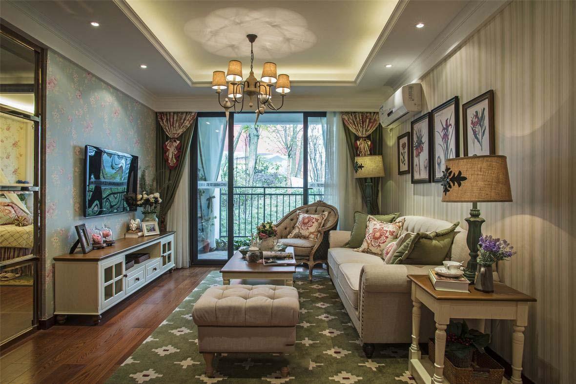 精美美式田园风格120平米三室一厅装修美图欣赏