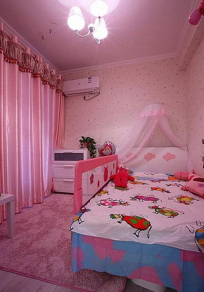 温馨浪漫可爱现代儿童房粉色窗帘装饰效果图_装修百科