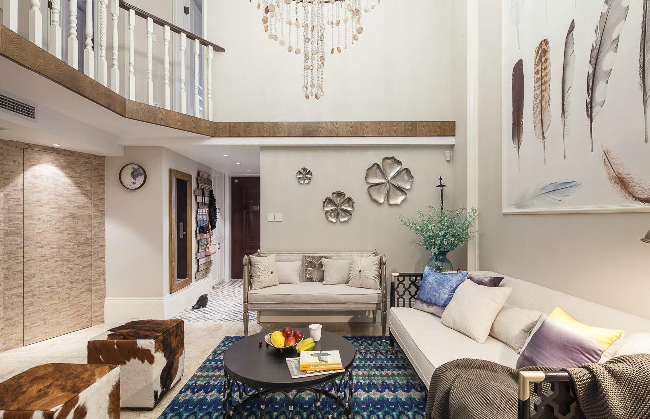 美式装修风格复式挑高客厅效果图_装修百科