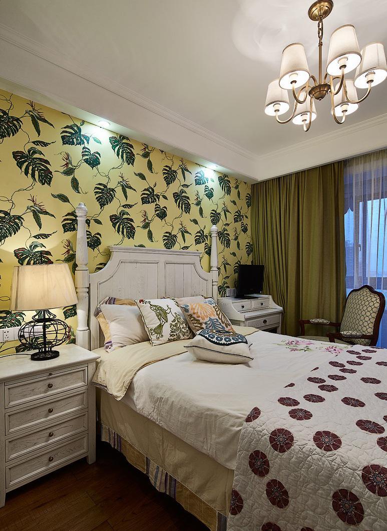 田园美式风格卧室墙纸装饰效果图_装修百科图片