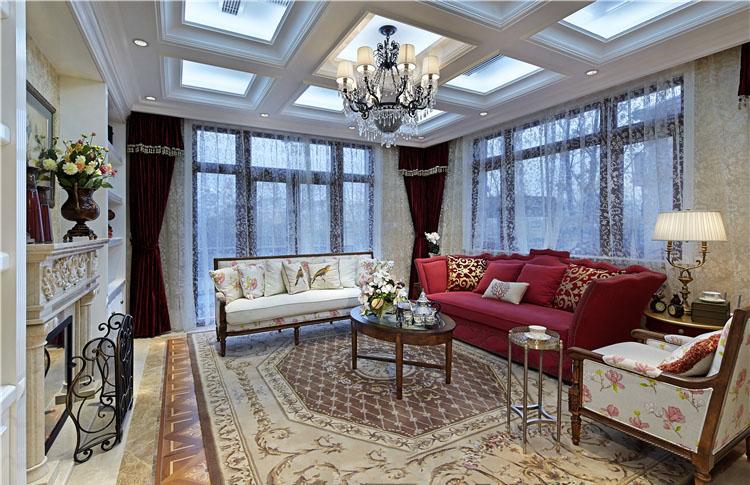 大气美式装修风格别墅室内效果图