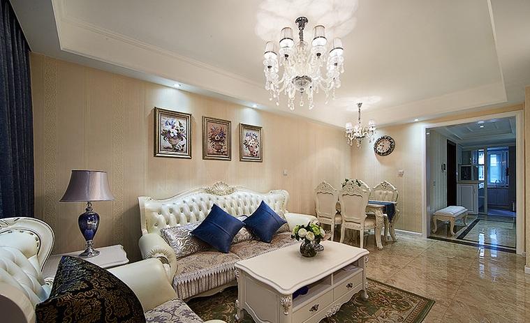 白色简欧风格装饰90平米二居室案例欣赏图