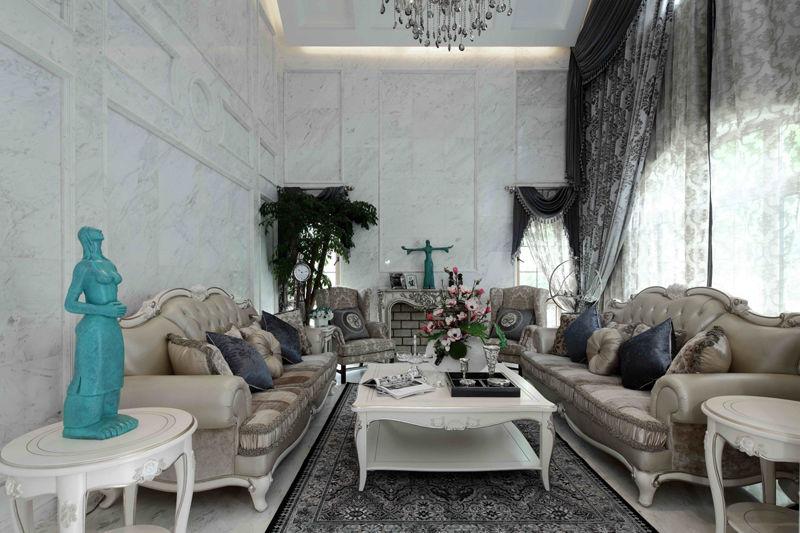 22万软装打造小资情调简欧风格别墅室内装修图