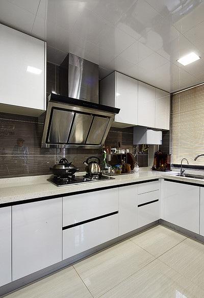 简洁时尚现代设计厨房白色橱柜装饰效果图
