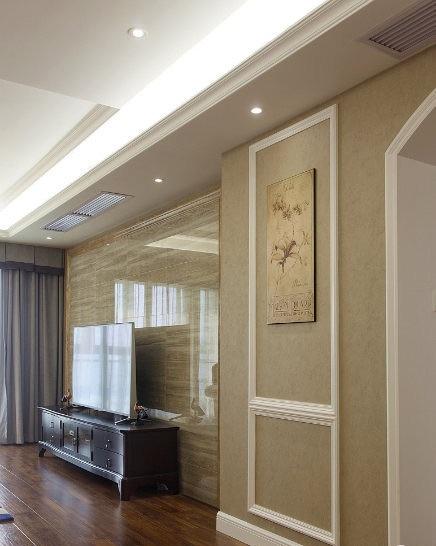 素雅简朴美式客厅大理石电视背景墙设计图_装修百科