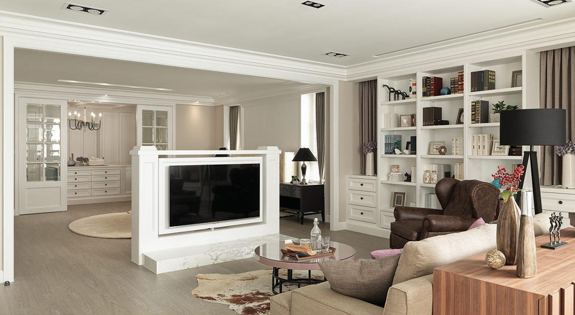 时尚潮流现代欧式家装半隔断电视背景墙设计
