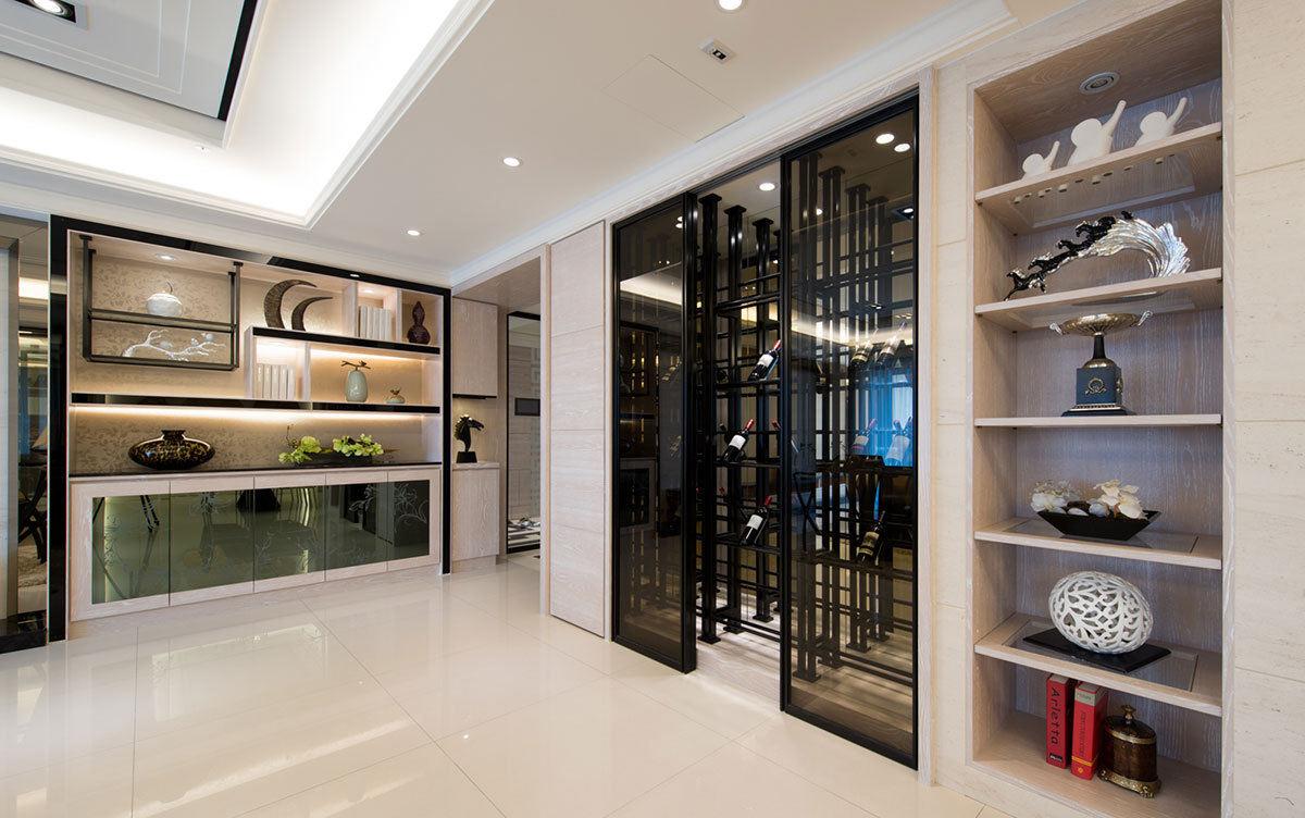 奢华新古典设计酒柜三居室效果图欣赏