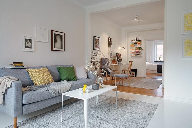60平米小户型室内隔断清新北欧装饰风格装潢效果图
