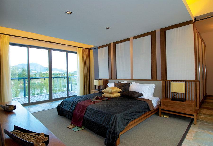 黄色装饰现代中式风格别墅卧室落地窗设计_装修百科