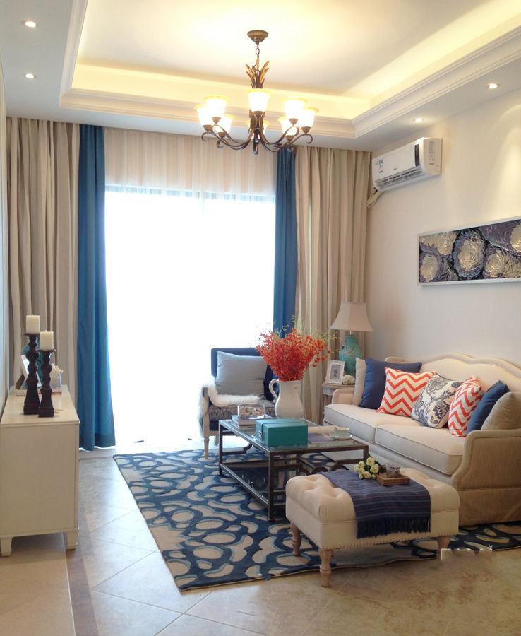 地中海設計裝修風格客廳窗簾搭配圖