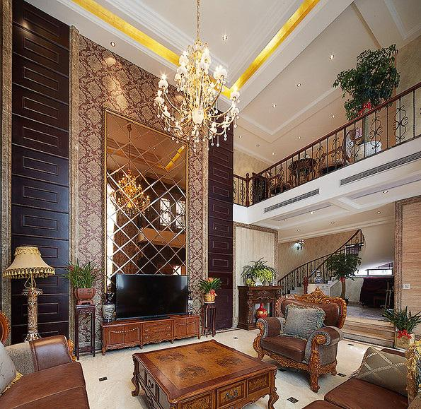 古典奢华欧式别墅客厅电视背景墙设计