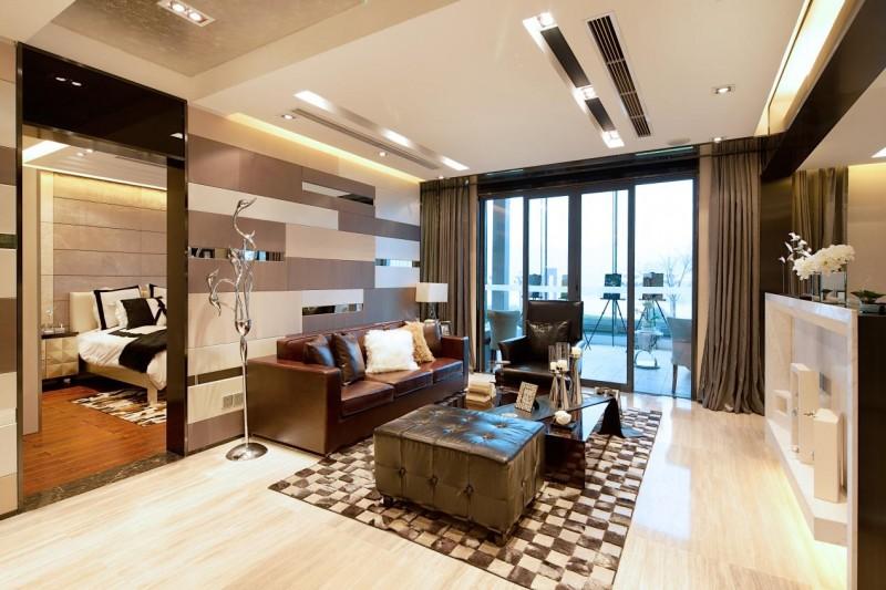 裝修百科 裝修效果圖 裝修美圖 美式設計現代裝潢二居室內隔斷案例