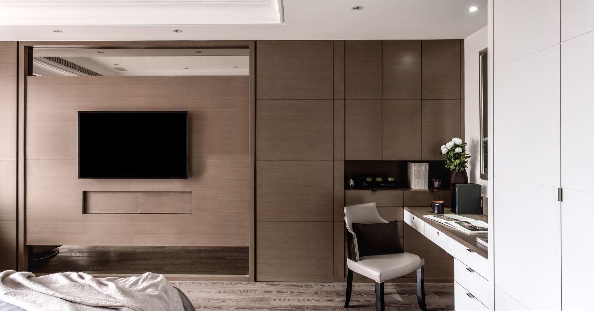 现代设计中式装修风格卧室实木电视背景墙装潢图