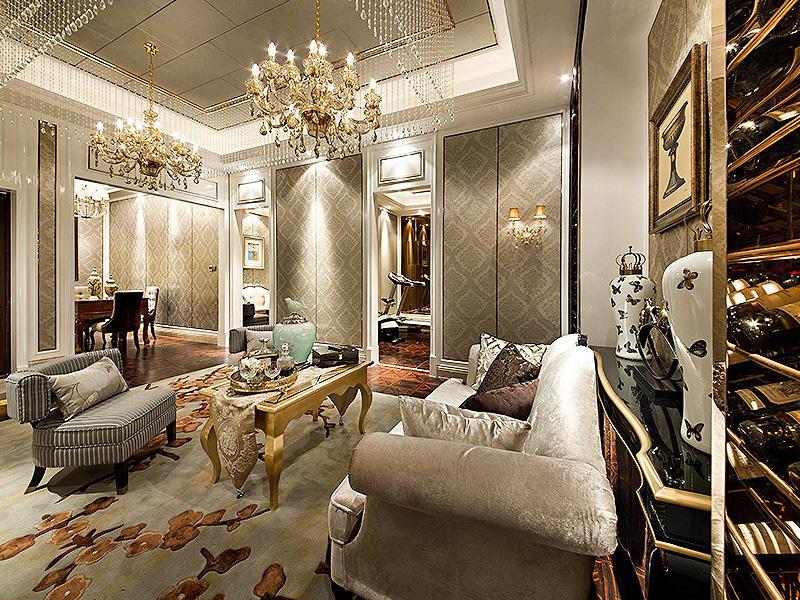 精致奢华欧式客厅软装装饰效果图