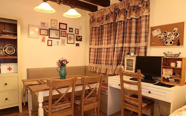 朴实田园风格餐厅书房一体设计