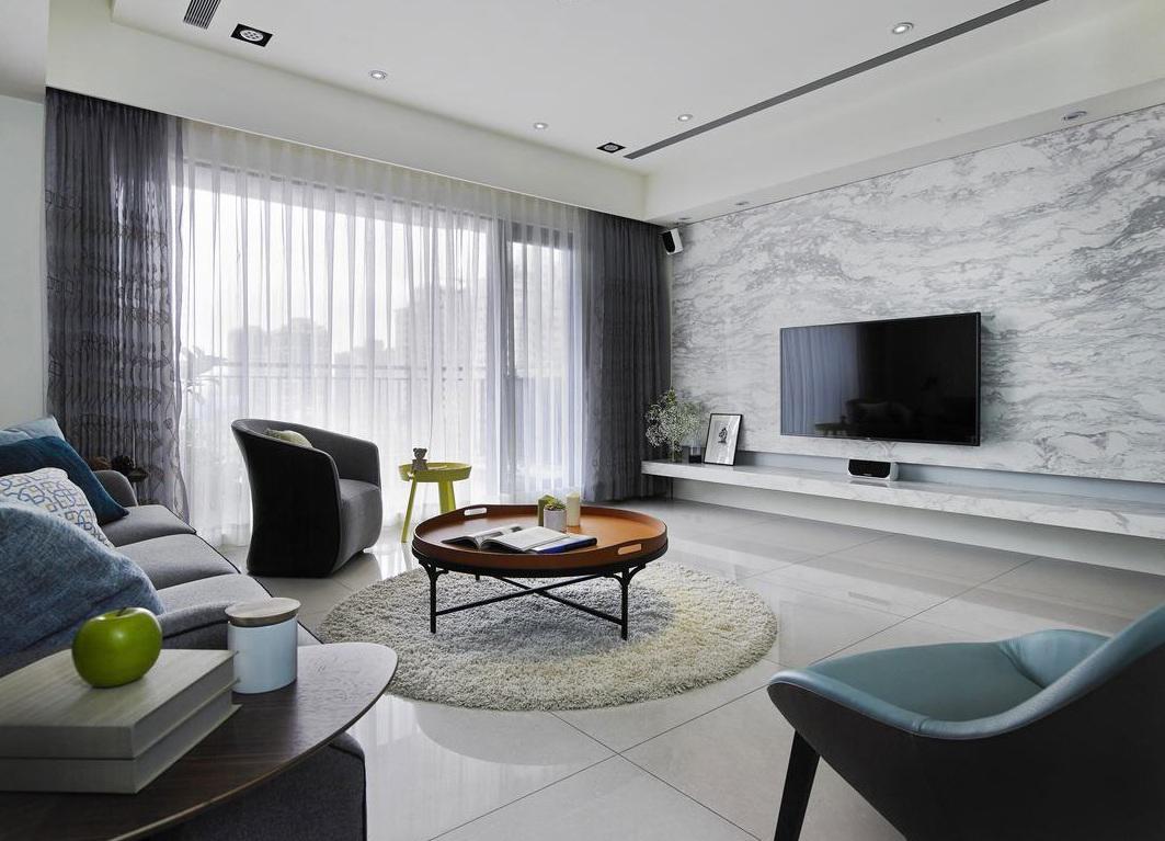 简洁现代设计 客厅大理石电视背景墙装饰图_装修百科
