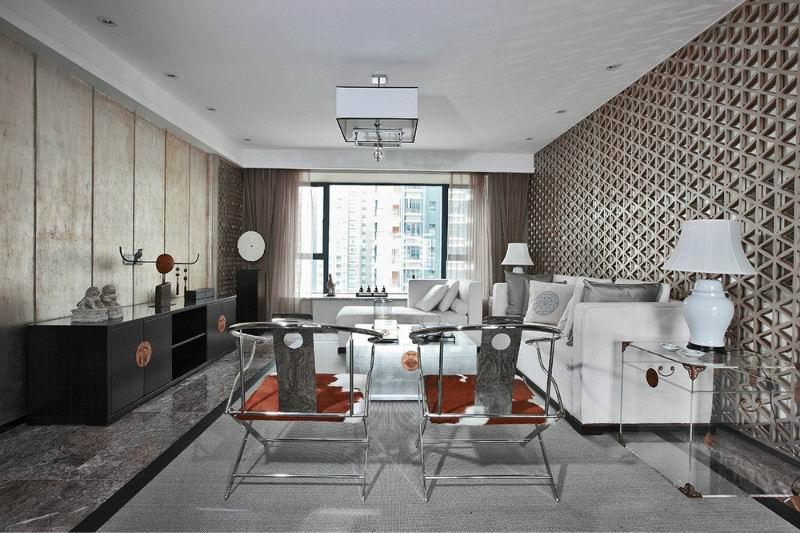 冷金属现代新中式风格家居客厅吊顶图片图片